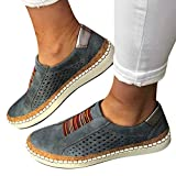 Veodhekai Womens Shoes Hollow-Out Round Toe Slip On Shoes Flat with Sneakers Breathable Blue