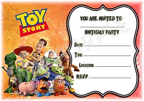 Disney Toy Story Fiesta de cumpleaños invitaciones–diseño de paisaje de marco–Invitaciones de fiesta suministros/accesorios (Pack de 12) WITH Envelopes
