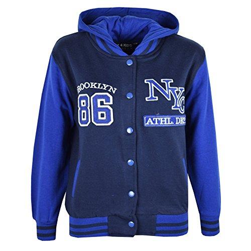 A2Z 4 Kinder® Unisex Kinder Mädchen Jungen Baseball NY ATHLATIC Mit kapuze JACKE Varsity Hoodie Neu Alter 7 8 9 10 11 12 13 Jahre