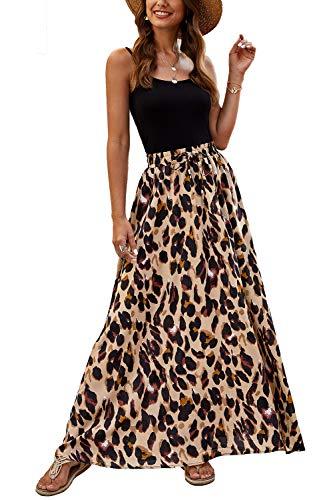 Bluetime Women Lightweight Summer Maxi Skirts Chic Elastic High Waisted Leopard Print Boho Long Skirts (L, Floral3)