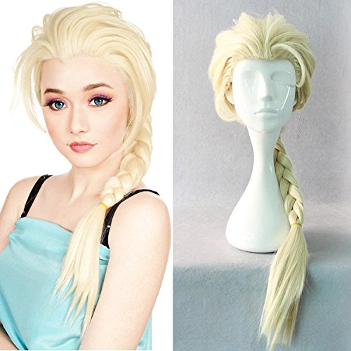 Mersi Elsa Wig for Kids Blonde Rapunzel Wig Long Braid Wig Princess Cosplay Costume Wigs S028