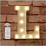 WHATOOK Letras Luminosas Decorativas con Luces LED, con temporizador inalámbrico y mando a distancia regulable, Color Blanco - Letra L