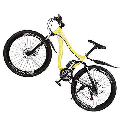 @Y.T Mountain Bike, 26-inch 21/24/27-speed Shock-Absorbing Carbon Steel Frame Hard Tail Adjustable Seat Double Disc Brakes Adult Off-Road Bike