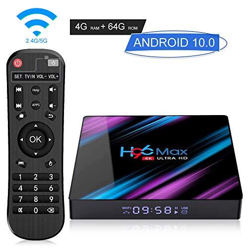 H96 Max Android 10.0 TV Box 4GB RAM 64GB ROM Smart Box with RK3318 Quad Core 64bit Processor, Support Wi-Fi 2.4G 5G 3D 4K Ultra HD Bluetooth 4.0