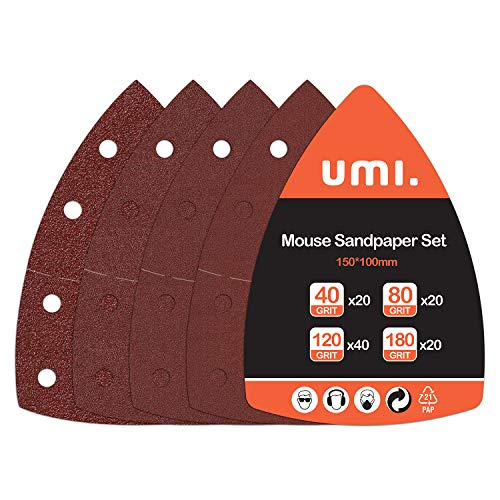 Amazon Brand - Umi Juego de Hojas de Lija de 100 Piezas para Lijadora Múltiple,Hojas Multilijadoras Grano 40/80/120/180
