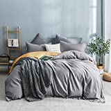 SHALALA Cotton Duvet Cover King Size, 3pcs Gray and Yellow Reversible Comforter Cover Set with Zipper Closure,1 Comforter Quilt Cover and 2 Pillow Shams 104'x90'