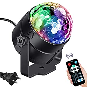 Vnina Disco Ball Party Lights LED Disco Lights Strobe Light DJ Dance Lights Effects with Colors Sound Activated for Kids Birthday Party Decoration Gifts Karaoke Home Celebration (with Remote)