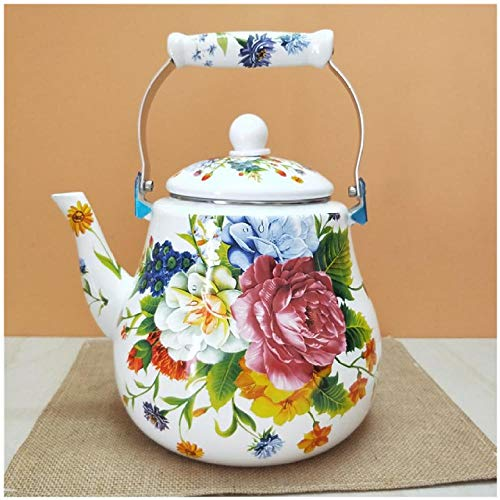 EnamelTeapot Large-Capacity Enamel Teapot 5 Liters Thickened Kettle Peony Flower Pear-Shaped Kettle