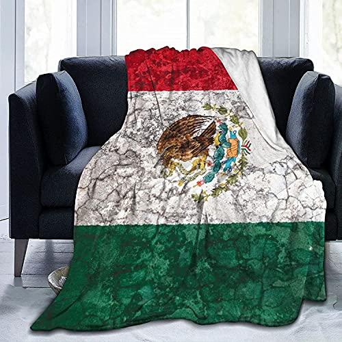 Manta de forro polar de franela con bandera de México para bebés, niños, hombres, mujeres, mantas suaves y cálidas, tamaño Queen y mantas para sofá cama, sofá de viaje, 50 x 40 pulgadas