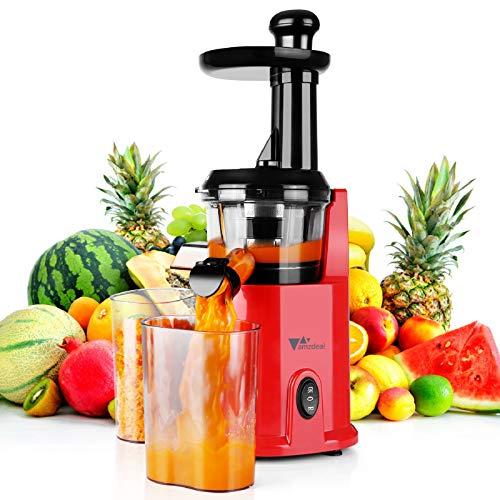 amzdeal Slow Juicer - Gemüse und Obst Entsafter, BPA-Frei Saftpresse,Umkehrfunktion & Leicht zu Reinigen, inkl. Saftkanne, Tresterbecher, Rutschfeste Füße, Reinigungsbürste, 200W