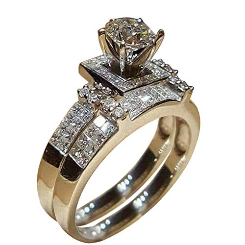 Fantastic Prices! BNisBM Mother's Day Ring,Women Shiny White Sapphire Diamond Engagement Ring Elegan...