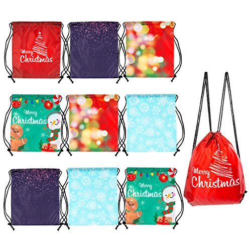 10 Große Weihnachten Rucksack Kordelzug Turnbeutel Geschenktüten, 39x33cm| Premium 210D Oxford, Wiederverwendbar, Robust| Praktische Geschenkverpackung für Mitgebsel Geschenke für Kinder Erwachsene.