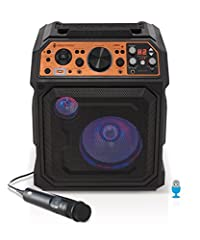 "First karaoke machine featuring official Auto-Tune software. Experiment with professionally engineered vocal effects or create endless personalized effects 8"" Full-range woofer and 3"" tweeter for dynamic room-filling sound, over 150 watts of peak pow..."