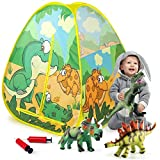 Temi Kids Play Tent - Foldable Pop Up Tent with 3 Jurassic Dinosaur Toys, Indoor and Outdoor Playhouse, Realistic Dinosaur Design Tent for Kids Toddler Boys Girls