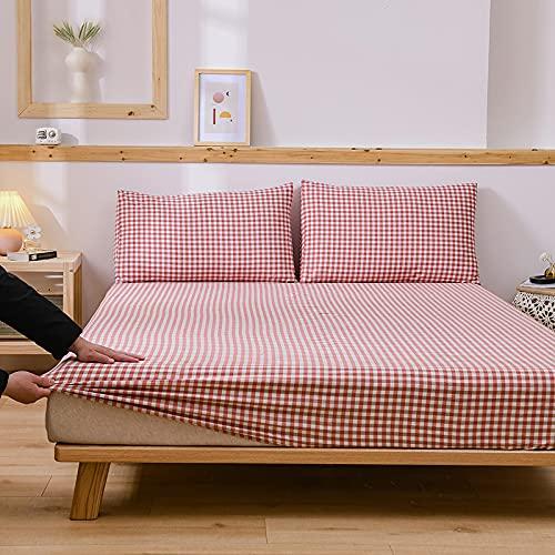 HAIBA Sábanas de cama doble, 100% algodón de fibras largas, sábana de cama doble de satén de lujo sábanas de algodón (100% algodón extra profundo cama doble), 180x200+40cm