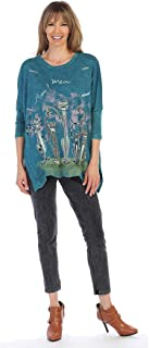 Jess & Jane Singing Cats Mineral Washed Cotton Top in Teal - M15-1290