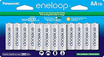 Panasonic BK-3MCCA16FA eneloop AA 2100 Cycle Ni-MH Pre-Charged Rechargeable Batteries  package includes 16AA blue or 16AA white