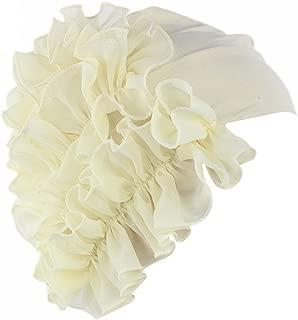 QingFan Women Flower Solid Ruffle Cancer Chemo Elegant Hat Beanie Turban African Head Scarf Wrap Cap