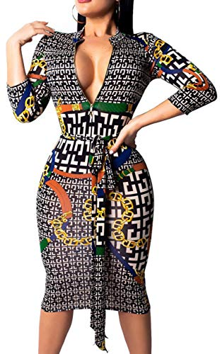 Women Sexy V Neck Dresses Elegant Bodycon Long Sleeve Stretchy Pencil Business Suiting Slim Fit Zipper