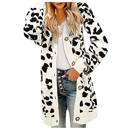 PinkLu Damen Leopard Strickjacke V-Ausschnitt Lose Mantel Lange Mode Winterjacke Warme Langarm Streetwear Knopf Elegante Wintermantel Tasche Windjacke Gerade Parka Übergangsjacke Lässiger Trenchcoat