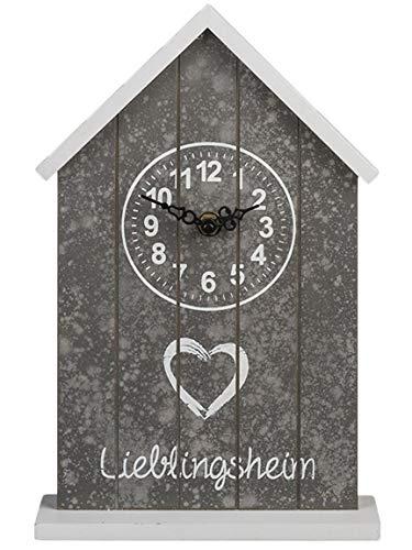 Bada Bing Uhr Lieblingsheim Holz Haus Weiß Grau Spruch Standuhr Kaminuhr Deko 71