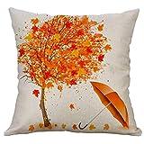 Gspirit 4 Stück Kissenbezug Herbst Ahornblatt Muster Dekorative Kissenhülle Baumwolle Leinen Werfen Sie Kissenbezüge 45x45 cm - 2