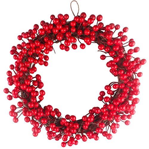FeiliandaJJ Decoration Kranz 30/35/40CM Rot Künstliche Beere Rattan-Kreis Herbst Kranz für Tür Wand Party hängenden Garland Ornamente Weihnachtsschmuck,Box Verpackung (Rot, 35CM)
