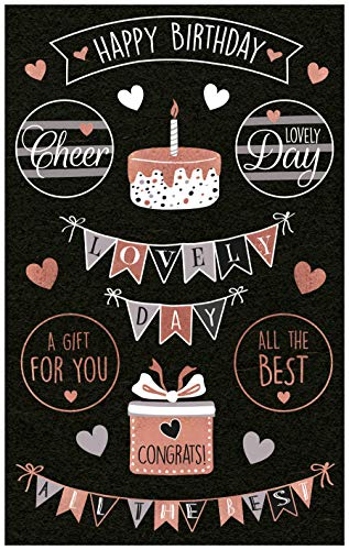AVERY Zweckform 57079 Papier-Sticker Happy Birthday 18 Aufkleber (selbstklebend mit Glanzeffekt, Deko, Geburtstag, Geschenke, Karten, Glückwünsche, Party, Dekorieren, Fotoalbum, Buttel Journal)