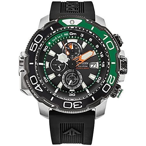 Citizen Reloj de pulsera para hombre ProMaster Aqualand cronógrafo con esfera negra y correa de goma