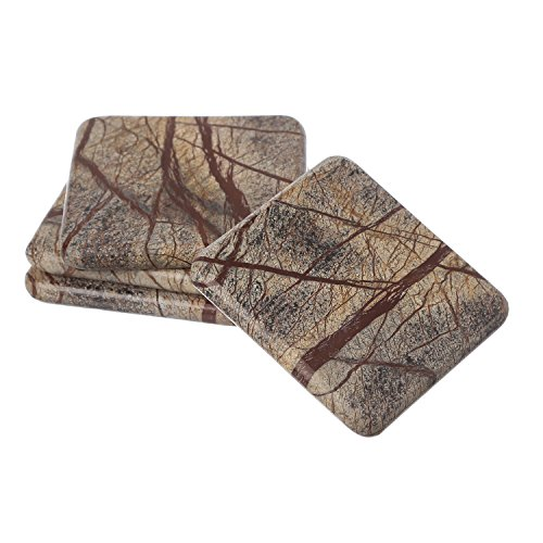 Shalinindia Handmade Brown Forest Square Shape Marble Stone Tea Coasters Set of 4 Size- 4X4X0.75 Inch for Drink Cocktail Coffee Dinning Table- Artisan Crafted in India