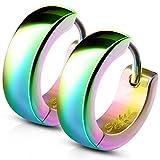 Bungsa® Regenbogen - Ohrclips 4mm Edelstahl 1 Paar ~ 5 FARBEN ~ (Ohrringe Ohrschmuck Ohrklemmen...