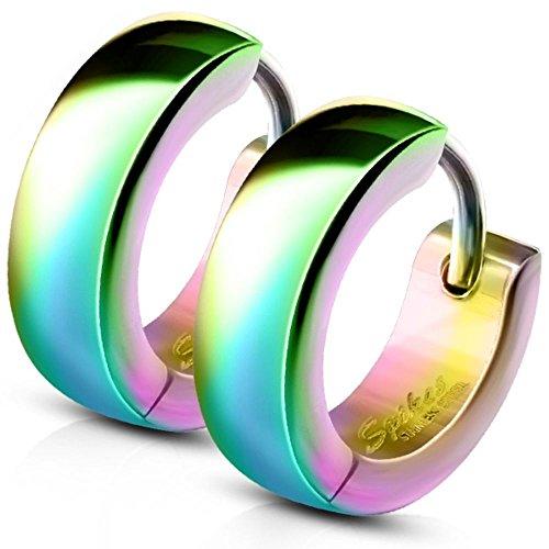 Bungsa® Regenbogen - Ohrclips 4mm Edelstahl 1 Paar ~ 5 FARBEN ~ (Ohrringe Ohrschmuck Ohrklemmen Studs Damen Frauen Herren Mode Earrings)