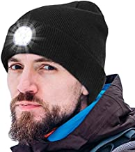 LED Beanie Hat with Light, USB Rechargeable 5 LED Beanie Cap for Men and Women, Winter Warm Knit Unisex Lighted Hat with L...