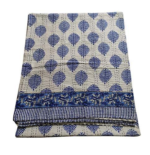 silkroude Gesteppte Tagesdecke für Doppelbett, blaues Paisleymuster, 220 x 274 cm, hypoallergen, leicht, dekorativ, moderner Stil, 100 prozent Baumwolle