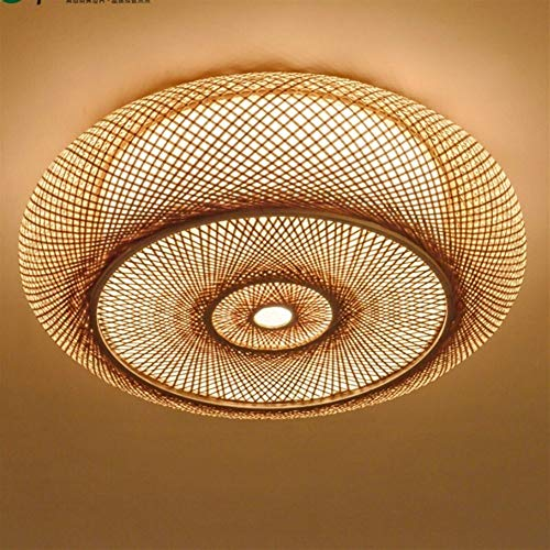 Einfache und stilvolle Deckenleuchte Handgewebte Bambuskorbleuchte, rund Korbleuchte, Deckenleuchte, Deckenlampe, Asiatisch, Japanisch, rustikal, Schlafzimmer, Wohnzimmer (Lampshade Color : 40CM)