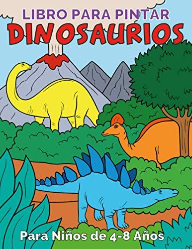 Libro para Pintar Dinosaurios para Niños de 4 a 8 años: 50 Bonitas Ilustraciones de Dinos con Información. Un gran regalo para niños y niñas. Incluye un enlace de descarga adicional