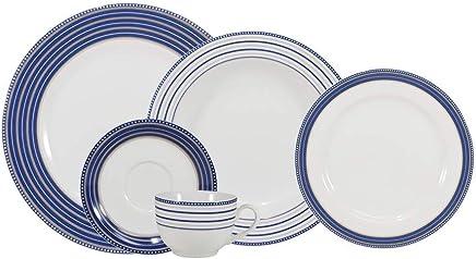 Serviço de Jantar e Chá, Porcelana Schmidt, Voyage Decoração Paula 5042 3 030 201 825 2265, Azul, pacote de 30