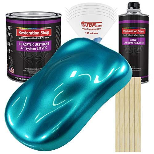 Restoration Shop - Teal Green Metallic Acrylic Urethane Auto Paint - Complete Gallon Paint Kit - Professional Single Stage High Gloss Automotive, Car, Truck Coating, 4:1 Mix Ratio, 2.8 VOC