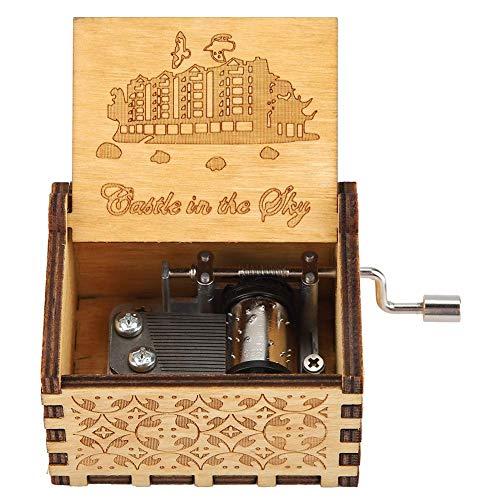 Fdit1 Caja de música clásica de Madera Tallada con manivela