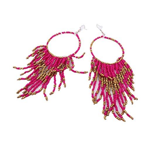 minshao lujo mujeres floral boda fiesta pendientes hot pink Talla:14*3.8CM/5.5*1.5'