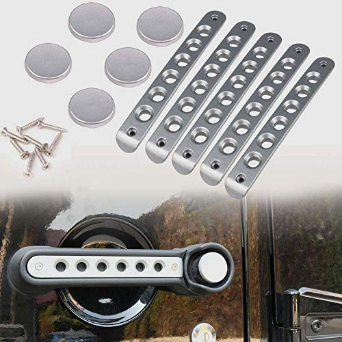 Athiry Silver 5 PCS Door Handle Accents/Inserts Cover + Door Handle Button Trim for Jeep Wrangler JK Unlimited 4D 2007-2017