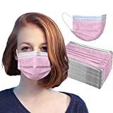 Disposable 50 PCS Face Mask Made in USA 3-Ply Breathable Mouth Cover Protection (50 Pack, Pink)