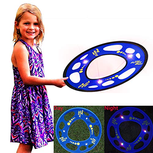 FLYDAY Flying Disc Glows in The Dark Flying Ring Soft for Kids Outdoor Game 18 Inch