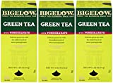 Bigelow Green Tea with Pomegranate 28-Count Box (Pack of 3) Premium Green Tea with Pomegranate Rosehips Hibiscus Antioxidant-Rich All Natural Medium-Caffeine Tea in Foil-Wrapped Bags