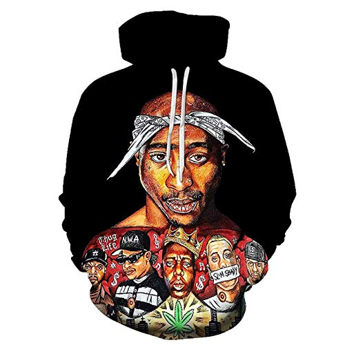 HUIZE Hip Hop Rap 2Pac Hoodie Herren- Und Damen-Sweatshirt Tupac Hooded Sweater Casual Loose Street Wear