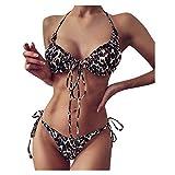 Ruidada, Mujeres Bandeau Bandage Bikini Set Push-Up Traje de baño brasileño Ropa de playa Traje de baño Traje de baño sexy con tiras y estampado de mariposas con estampado de leopardo