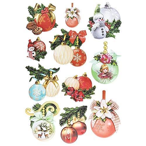 Stickerbogen 3-D Relief-Sticker | Aufkleber | Hochwertig geprägt mit 3-D-Effekt | Din A4 Bogen mit verschiedenen Motiven (Weihnachtskugeln)
