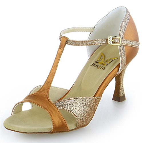 JIA JIA 2055 Damen Sandalen Ausgestelltes Heel Super-Satin mit funkelnden Glitter Latein Tanzschuhe Tan, 39