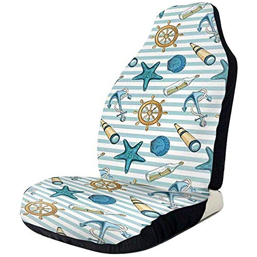 Fall Ing Sea Striped Anchor Wheel Starfish Seashell Protector Seat Cover voor de meeste auto's