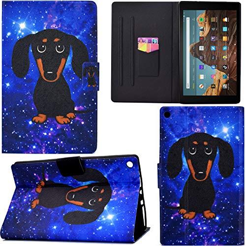 DodoBuy - Funda de piel sintética con tapa y tarjetero, con ranuras para tarjetas, cierre magnético Perro negro Amazon Fire HD 10 Tablet